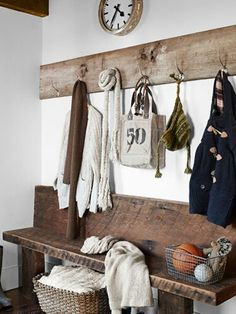 cool bench, barn wood for hooks!!!