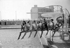 vintage swim on diving board, 1956