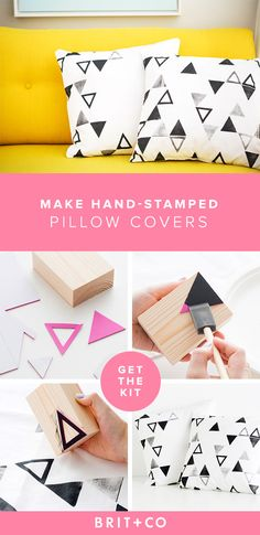 Can't get enough of that punchy block print look? Pump up your home decor with this DIY and use this kit to make hand-stamped pillow covers. Choose from black, navy or magenta.