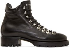 Dsquared2 Black Leather Hiking Boots