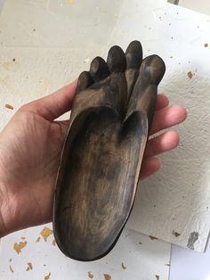 Vintage foot wood, small plate foot shape, handcarved wood sculpture - Unique Bali hand carved souvenir - dark brown