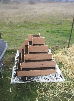 Strawberry planter pyramid- actual size 30x30 holds 40 plants. Maybe great for salads and herbs since some of the sides will be shaded by the structure. Upper tiers would be rabbit proof, and you would have to replenish soil occasionally. From Reddit /u/Vorokar