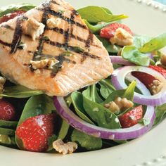 Grilled salmon and strawberries accent our Baby Spinach, along with a Dijon vinaigrette.