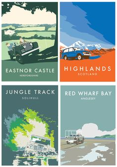 Pack of 4 Retro Vintage Land Rover postcards by RetroEighty