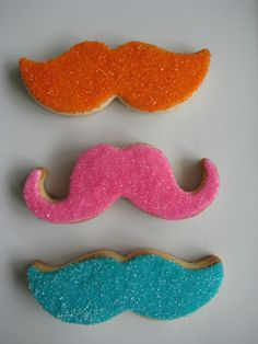 Beautiful colorful mustaches by sugarlily cookie, via Flickr