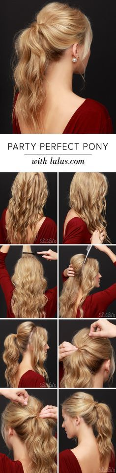 Wanting to show off your backless holiday dress, or maybe you need to spruce up that second-day hair? Give our Party Perfect Ponytail Hair Tutorial a go! Prom Hairstyles All Down, Homecoming Hairstyles, Hairstyles For School, Formal Hairstyles, Cool Hairstyles, Everyday Hairstyles, Prom Pony Tail, Pony Tails, Braid Styles