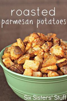 Roasted Parmesan Potatoes Recipe - 6 potatoes diced with skin on; c parm cheese; 425 on sprayed foil lined cookie sheet. 45 min stir every 15 min Potato Dishes, Potato Recipes, Vegetable Recipes, Food Dishes, Side Dishes, Side Dish Recipes, Dinner Recipes, Parmesan Potatoes, Roasted Potatoes