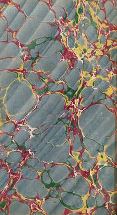 Vintage 19th c. marbled paper, Spanish on Italian pattern :: Decorated Papers