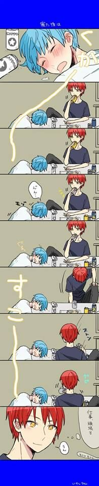How cute, he just wants to stare at nagisa's sleepy face :3