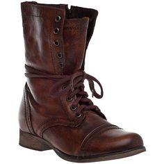 STEVE MADDEN SHOES Troopa Combat Boot Brown Leather ($99) ❤ liked on Polyvore