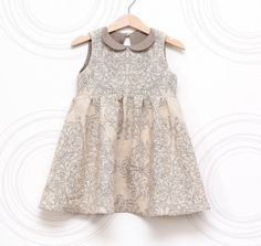 Linen dress. Etsy listing at https://www.etsy.com/listing/158825884/girls-linen-peter-pan-collar-dress-party