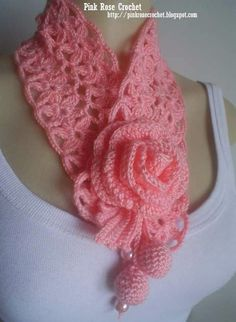 Golinha+Flor+Surprise+-+Crochet+Scarflette+-+Pink+Rose+ 30 Kb) by elvira Gorgeous ~ but I can't find the actual pattern! If anyone finds it, please give a yell. Crochet Flower Ornament By Aprende Delicate scarf and a flower . See 1 photo from 4 visitors t Col Crochet, Crochet Flower Scarf, Beau Crochet, Crochet Collar, Crochet Flower Patterns, Crochet Scarves, Crochet Shawl, Crochet Clothes, Crochet Flowers