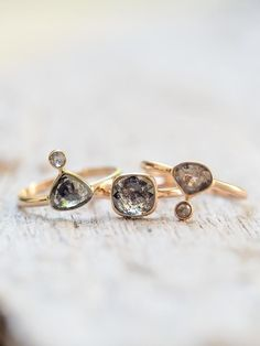 Dark Pear Diamond Ring - Gardens of the Sun Jewelry Looking for an alternative engagement or self love ring? The inclusions in this rose cut stone are spectacular and will keep you gazing