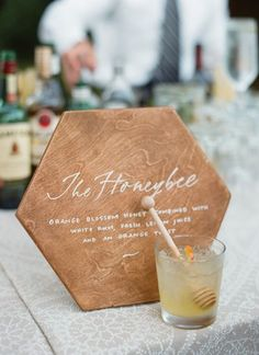Garden Wedding by Kate Headley and Simply Chic Events - Southern Weddings Honey signature cocktail Wedding Signage, Wedding Reception, Drinks Wedding, Wedding Signature Drinks, Reception Food, Brunch Wedding, Wedding Tables, Reception Ideas, Wedding Bells