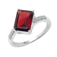 USA Sterling Silver Garnet and White Topaz Ring