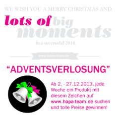 ❄ ❄ HapaTeam Adventsverlosung ❄ ❄  Ab 2. - 27.12.2013, jede Woche ein Produkt mit diesem Zeichen auf www.hapa-team.de suchen und tolle Preise gewinnen! http://www.hapa-team.de/ADVENTSVERLOSUNG:_:32.html  #fotografie   #verlosung   #advent