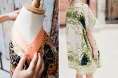 Turn 2 silk scarves into a caftan with this DIY.