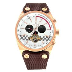 SPEATAK SP9050G Tourbillon Automatic Sun/Moon Display Mechanical Men's Canvas Leather Strap Watch - Brown+Rose Gold+White -- Awesome products selected by Anna Churchill