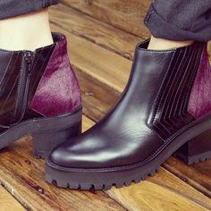 Black&Wine, botinetas color negro y detalle de talón en color vino!!! En #linardelzar #boots #botinetas #otoño2015  #invierno2015