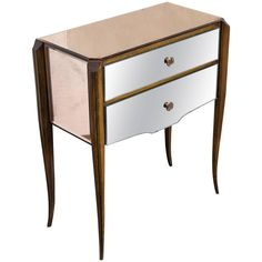 French 1940s Mirrored Nightstand