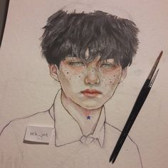 Posting another #wip cause i dont know when i will be able to finish this #traditionalart #btsart #btsfanart #kpopfanart #minyoongi #watercolor