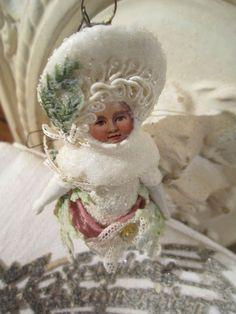CBS Hänger Winter Mädchen Watte Glocke Christmas Weiss Frankreich JDL Brocante in Sammeln & Seltenes, Saisonales & Feste, Weihnachten & Neujahr | eBay