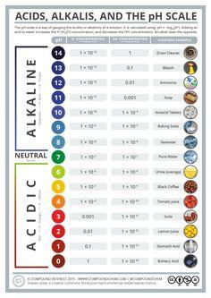 La escala de pH mide el grado de acidez de las distintas sustancias. Si estas no son muy ácidas se llaman básicas #escala #ph #acidez #alcalinidad
