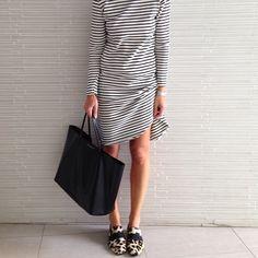 Stripe + Animal print kind of day #givenchy tote #celine shoes #stripes