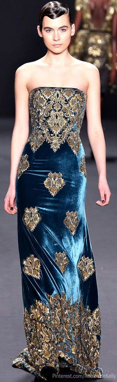 Naeem Khan Fall 2013 | Blue and Gold Get more wedding planning tips, DIY, dress ideas and a free bridal costs download GO TO: www.endingiseternity.com