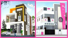Modern two storey house front elevation designs two floor house designs House Front Design, Cool House Designs, Modern House Design, Building Elevation, House Elevation, Double Story House, Design Youtube, Front Elevation Designs, Two Storey House