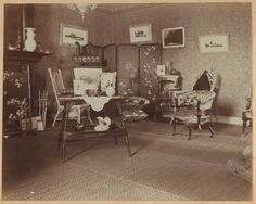 """[Corner of drawing room, facing east, Dom Smith, Vladivostok, Russia] Summary Interior view shows furniture and decorative items arranged in the drawing room. The companion view is no. 6. In a letter dated May 26, 1900, Eleanor Pray wrote: """"I toned my photos because I want to get some off to you on this mail. ... Those of the drawing-room are wretched and I only printed those two, but I thought you would be interested in them so I send them along with the others."""""""