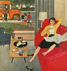 #bus #newspaper #magazines #table #lamp #home #house #schoolbus #school #bus #classic #vintage #family #children #kids #painting #normanrockwell #art #shoes #flowers #plants #coffee
