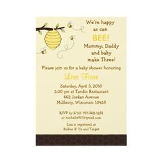 brown and yellow bumblebee baby shower invitation (different color scheme?)