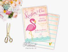 Printable invitations - FLAMINGO invitation - flamingo theme - calligraphy - flamingo  - freshmint paperie by FreshmintPaperie on Etsy https://www.etsy.com/listing/215152699/printable-invitations-flamingo