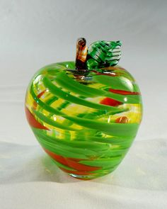 apple: Blown Glass Fruit for teacher in Green red by Glassometry. Simply lovely.