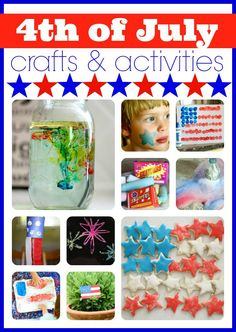 4th of July Crafts & Activities- It doesn't get much better than hot dogs, fireworks, and a whole lotta red, white & blue!  Here are a few of our favorite crafts and activities: