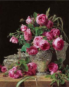 Roses 1843 by Austrian Painter Ferdinand Georg Waldmüller 1793 - 1865