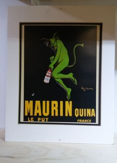 """Art Poster: Vintage Maurin Quina Le Puy France Beer Alcohol Whiskey Advertising 14"""""""" Signed"""