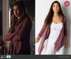 Elena's pink draped front hooded cardigan on The Vampire Diaries.  Outfit Details: http://wornontv.net/42158/ #TheVampireDiaries