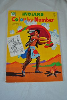 Vintage 1970s INDIAN Color By Number Coloring Book Whitman 1975.....loved color by numbers! Wonder if they still have this one in print - probably not!