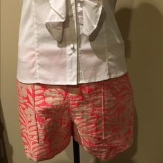 SALEJ.CREW ,NEON CORAL COLLECTION ,JACQUARD ,8 Pattern taken from a vintage J.Crew pattern and reworked for today's fashion . Has the appearance of silk .A MUST HAVE FOR SUMMER  J. Crew Shorts