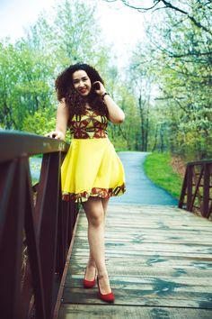 Ankara Print Spring Dress -Yellow