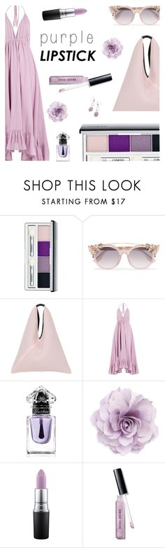 """Purple Lipstick"" by rasa-j ❤ liked on Polyvore featuring Clinique, Jimmy Choo, MM6 Maison Margiela, Loup Charmant, Guerlain, Cara, MAC Cosmetics, Bobbi Brown Cosmetics, beautyset and purplelipstick"