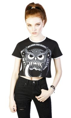 """100% cotton cropped ringer t-shirt. Super-soft print. Model is 5' 6"""" and is wearing size S. TAG YOUR PURCHASE: #disturbiaclothing IN STOCK & SHIPS WITHIN 24 HOURS"""
