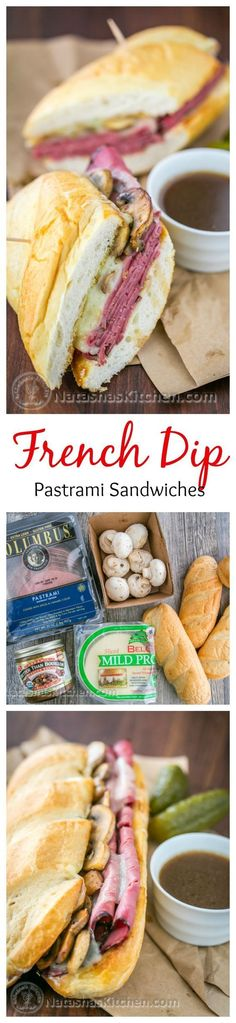 Easy and Delicious French Dip Pastrami Sandwich - A country club copycat recipe! @natashaskitchen