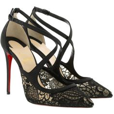 Christian Louboutin Pumps - Twistissima Pump 100 Black - in black -... ($875) ❤ liked on Polyvore featuring shoes, pumps, black, black pointed-toe pumps, slip on shoes, floral print pumps, black stiletto pumps and black shoes
