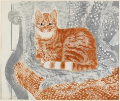 """Cat on Chair"" by Sheila Robinson, 1971 (cardboard cut) - reminds me of Mimi aka Mrs Moo Moo"