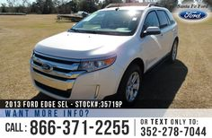 2013 Ford Edge SEL - Sport Utility Vehicle - Turbocharged I4 2.0L Engine - Keypad Door Lock - Alloy Wheels - Spoiler - Tinted Windows - Roof Racks - Hitch Receiver - Safety Airbags - Seats 5 - Powered Windows/Locks/Mirrors/Driver Seat - AM/FM/CD/SIRIUS Satellite - iPod/Aux/USB Ports - Bluetooth - SYNC by Microsoft - Backup Sensor - Cruise Control - Dual Exhaust - Remote Keyless Entry - Digital Compass - Ouside Temperature Display - Heated Front Seats and more!
