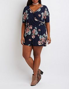 Plus Size Floral Strappy Surplice Romper * Be sure to check out this awesome product.
