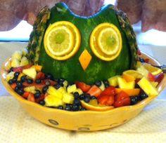 Owl of fruit for owl themed baby shower.